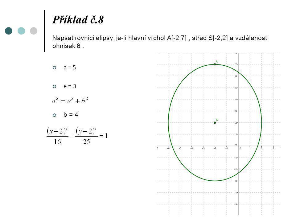 Příklad č.8 Napsat rovnici elipsy, je-li hlavní vrchol A[-2,7] , střed S[-2,2] a vzdálenost ohnisek 6 .